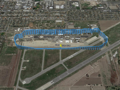 Flight path of R44 under electric propulsion at Los Alamitos Army Airfield courtesy of Google Earth.